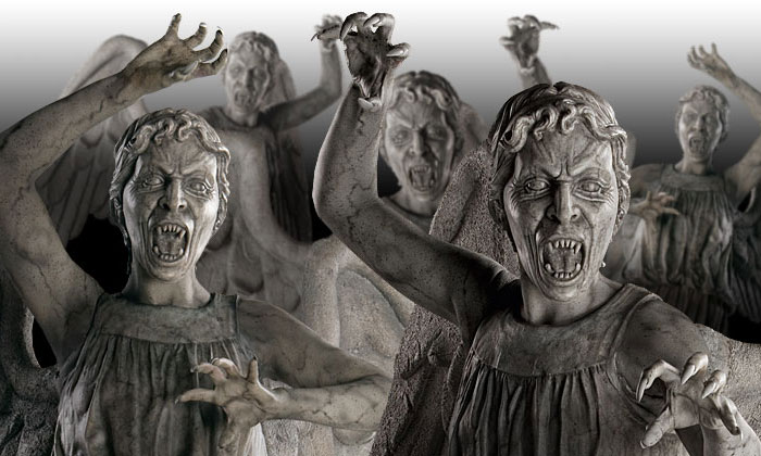 An episode penned by Moffat where he introduced The Weeping Angels, aliens who become statues and who can send their victims back in time